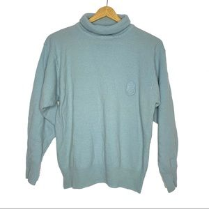 Bogner Lambswool Mint Blue Turtleneck Sweater